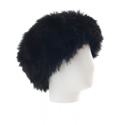 Baby Alpaca Fur Hat Black