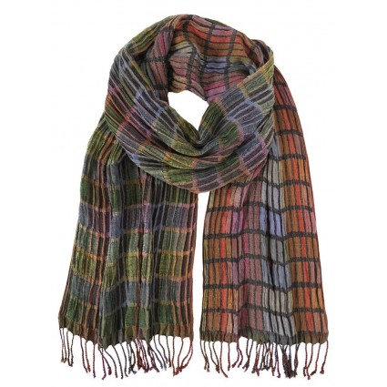 Hand Woven Silk Scarf Bricks Berry Mix