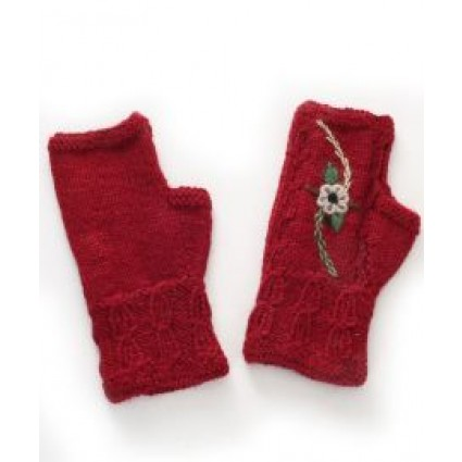 Alpaca Fingerless Gloves Embroidered Flower Burgundy