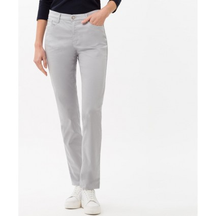 Brax Carola Feminine Fit Cotton Satin Trousers Grey
