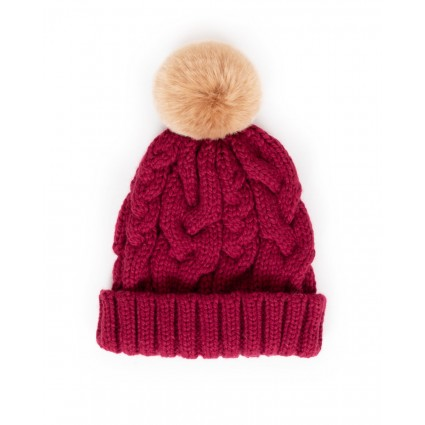 Powder Charlotte Pompom Hat Raspberry