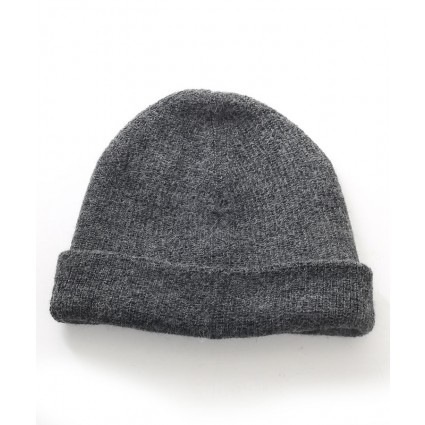 Mens Alpaca Double Knit Hat Charcoal