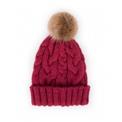 Powder Charlotte Pom Pom Hat Berry Red