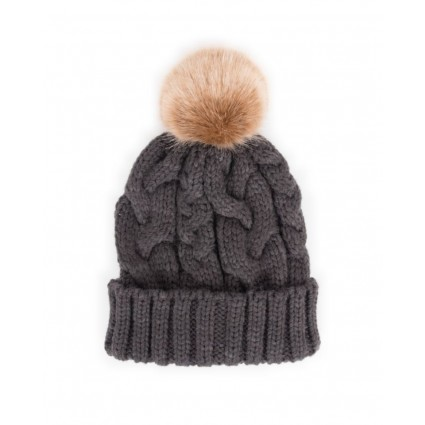 Powder Charlotte Pom Pom Hat Charcoal Grey