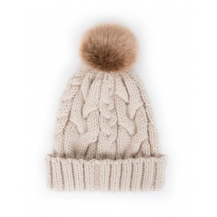 Powder Charlotte Pom Pom Hat Cream