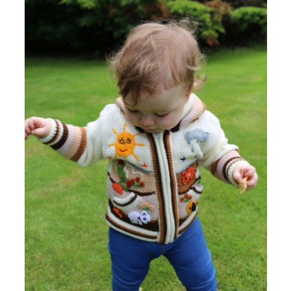 Childrens Applique Cardigan Natural