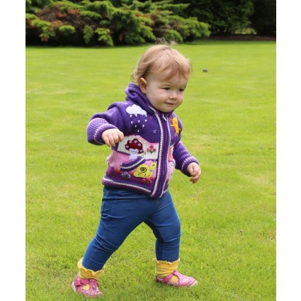 Childrens Applique Cardigan Purple