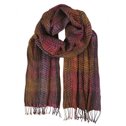 Hand Woven Silk Scarf Chevron Berry Mix