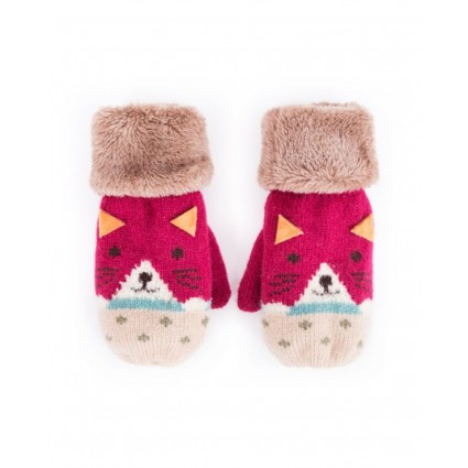 Powder Kids Cat Mittens Berry