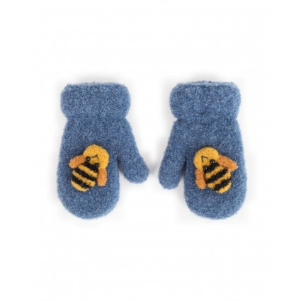 Powder Baby Bee Mittens Blue