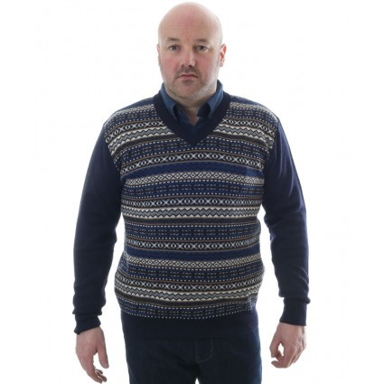 Mens Baby Alpaca V Neck Jumper Chompa Navy