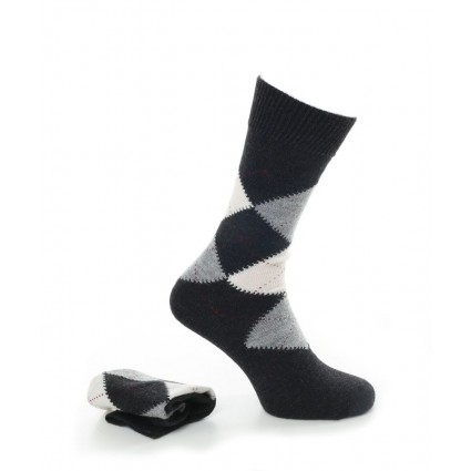 Alpaca Mens Argyle Smart Socks Charcoal