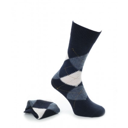 Alpaca Mens Argyle Smart Socks Navy