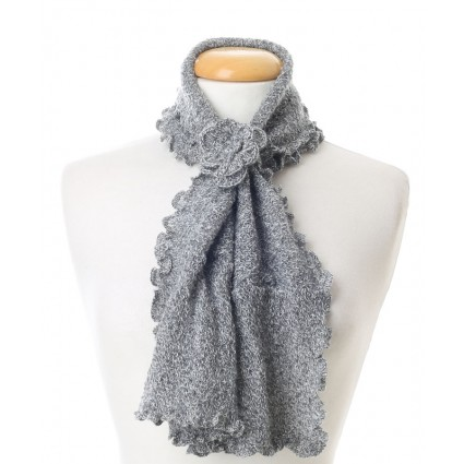 Baby Alpaca Curly Edge Scarf Grey Marl
