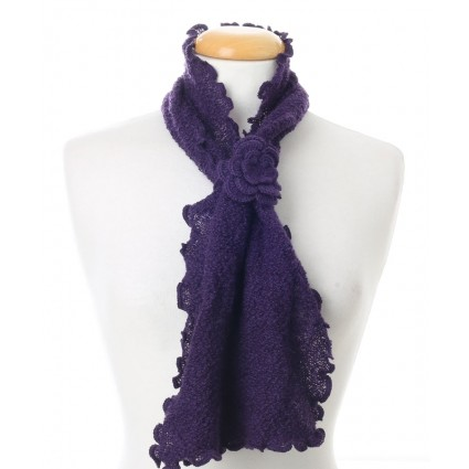 Baby Alpaca Curly Edge Scarf Purple