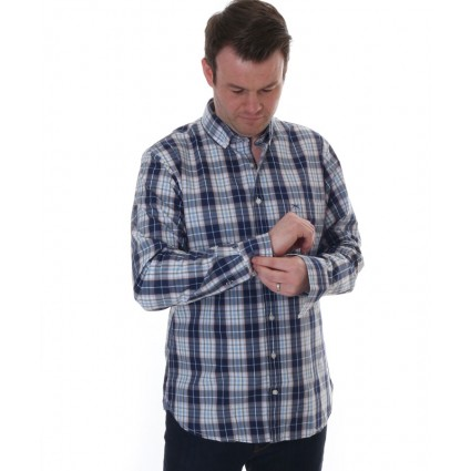 Brax Danilo Long Sleeve Checked Shirt Blue