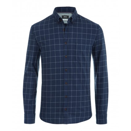 Brax Danilo Checked Cotton Shirt Navy