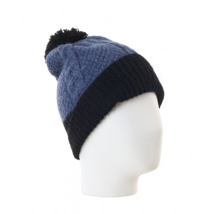 Alpaca Gisell Pom Pom Cable Knit Hat Denim And Black