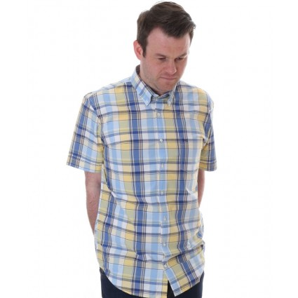 Brax Drake Checked Shirt Blue & Yellow