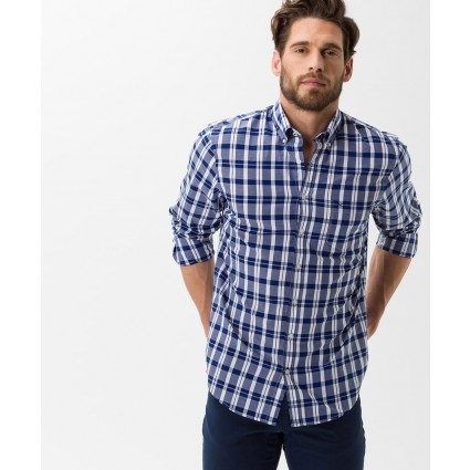 Brax Dries Long Sleeve Checked Shirt Blue