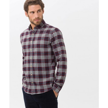 Brax Duke Checked Shirt Burgundy