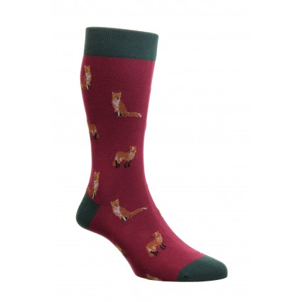 Pantherella Farnley Fox Socks Wine
