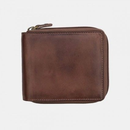 Primehide Leather RFID Zipped Wallet Brown 6427