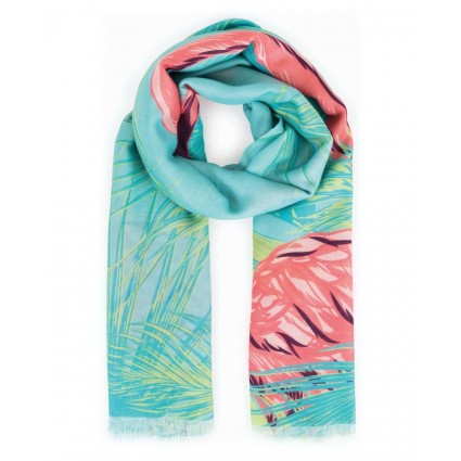 Powder Flamingo Print Scarf