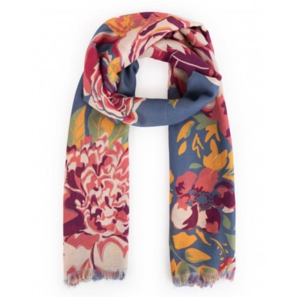 Powder Floral Teal Scarf