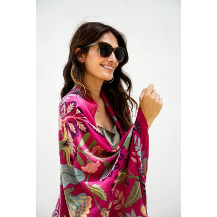 Powder South American Fuchsia Print Scarf