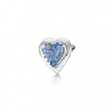 Shrieking Violet Sterling Silver Heart Brooch Forget Me Not