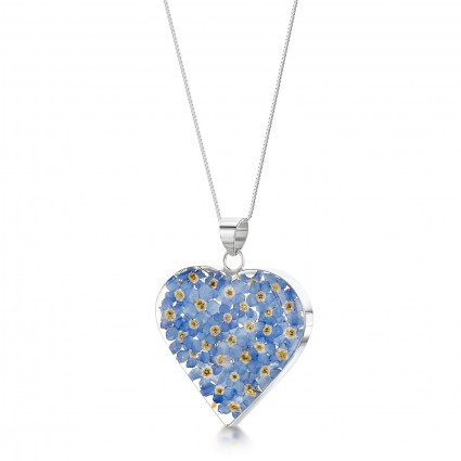 Shrieking Violet Sterling Silver Medium Heart Necklace Forget Me Not