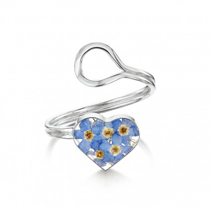 Shrieking Violet Sterling Silver Adjustable Heart Ring Forget Me Not