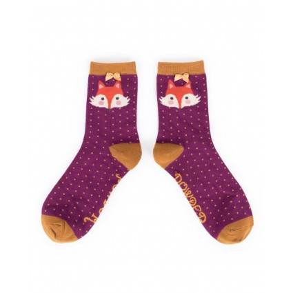 Powder Fox Bamboo Ankle Socks Damson