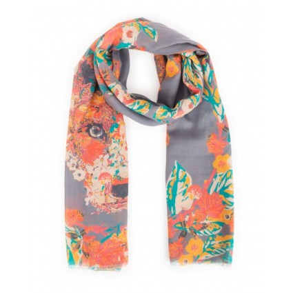 Powder Floral Fox Scarf