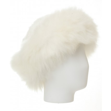 Baby Alpaca Fur Hat White