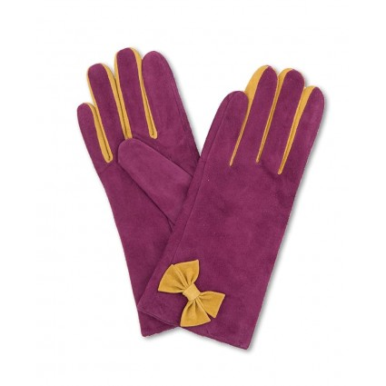 Powder Gertrude Suede Gloves Magenta Pink