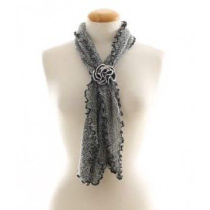 Alpaca Clothing Co Curly Edge Scarf Scarf Black Grey