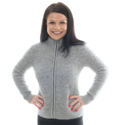 Alpaca Zipped Cardigan Light Grey