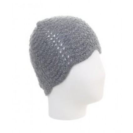 Alpaca Scallop Edge Beanie Hat Grey Melange