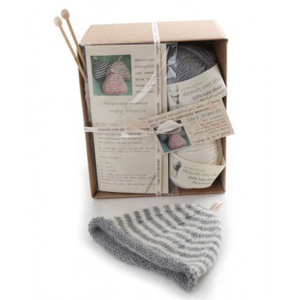 Alpaca Baby Beanie Knitting Kit Grey