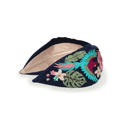 Powder Parrot Knotted Headband Navy
