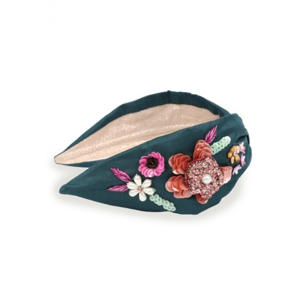 Powder Floral Knotted Headband Teal