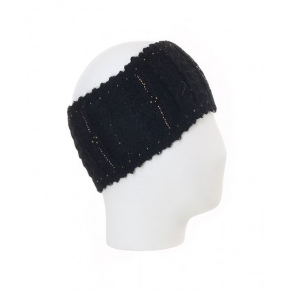 Alpaca Cable Knit Headband Black