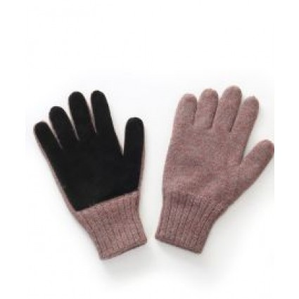 Alpaca And Lambskin Leather Driving Gloves in Henna And Black