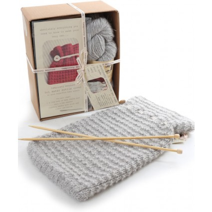 Alpaca Hot Water Bottle Cover Knitting Kit Grey