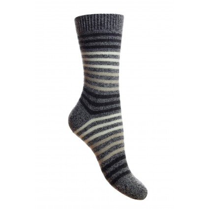 Pantherella Ladies Kyra Cashmere Striped Socks Charcoal