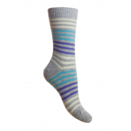 Pantherella Ladies Kyra Cashmere Striped Sock Grey