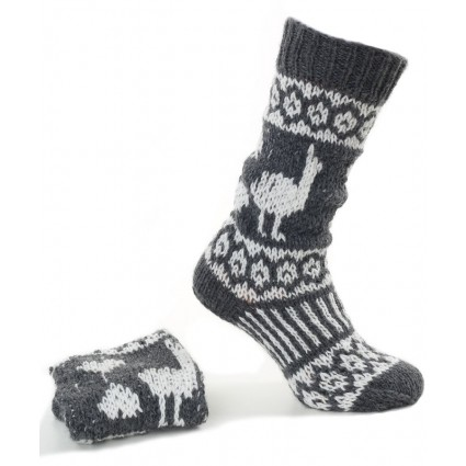 Alpaca Hand Knitted Long Socks Grey
