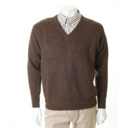 Alpaca Luis V Neck Jumper Brown